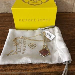 Kendra Scott Arlet Gold Necklace in pink Rhodonite
